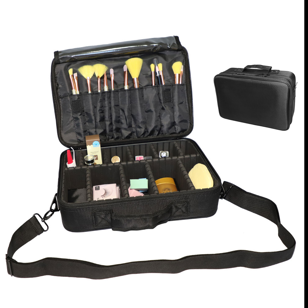 01ff51adbbf9 Details about Makeup Cosmetic Case Travel Bag Storage Organizer with  Removable Dividers