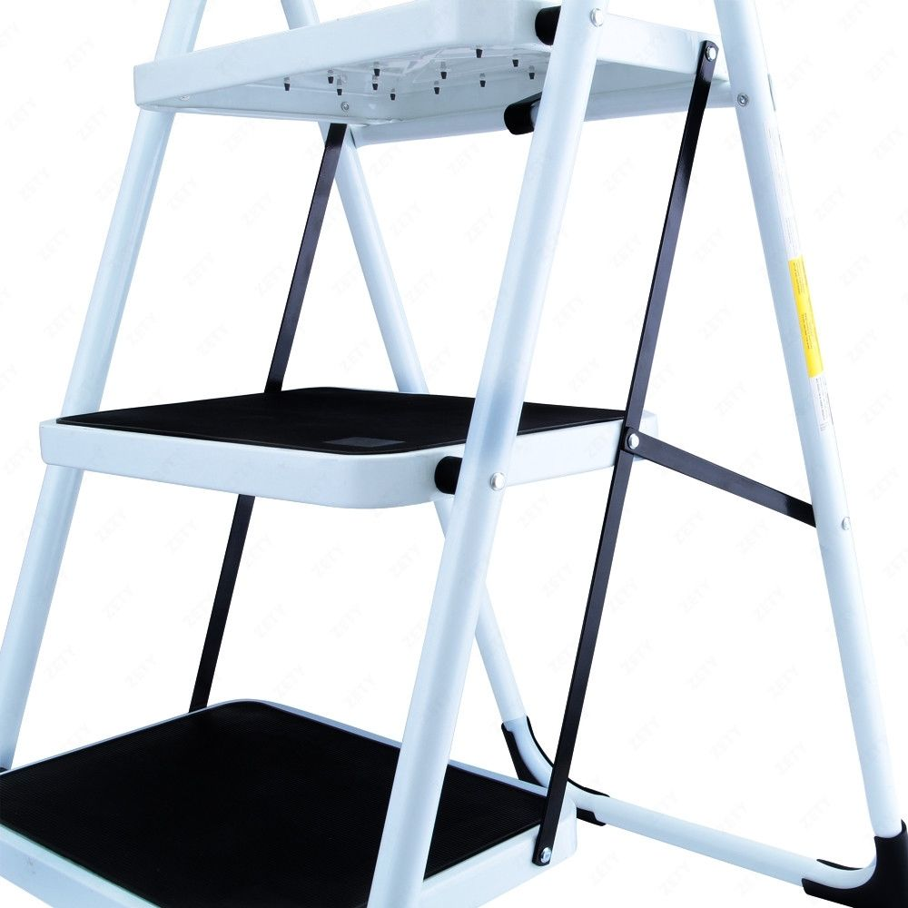3 Steps Ladder Folding Handrails Grip Iron Step Stool