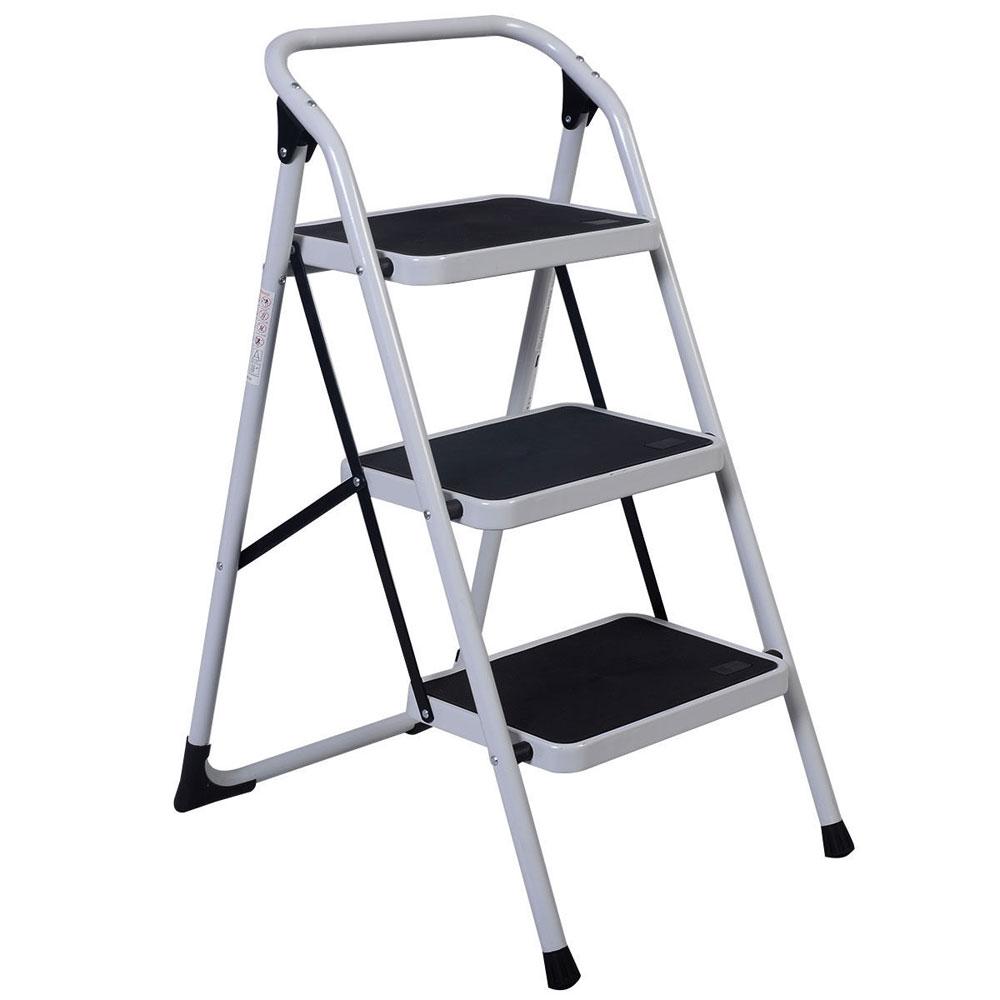 3 Steps Ladder Folding Handrails Grip Iron Step Stool