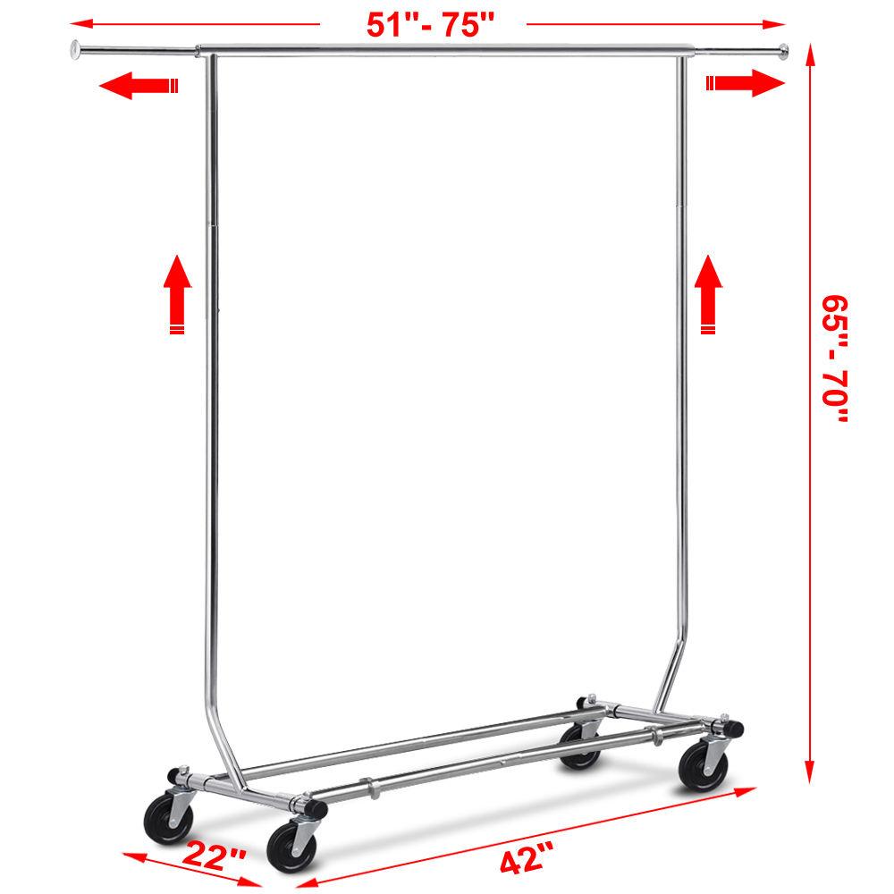 Single Double 250lb Rail Portable Clothes Hanger Rolling