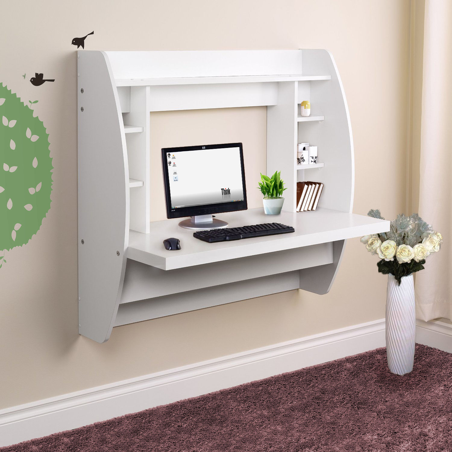 best website 32edb fb476 Details about White Wall Mount Floating Shelf Computer Desk for Home Office  PC Table Nice