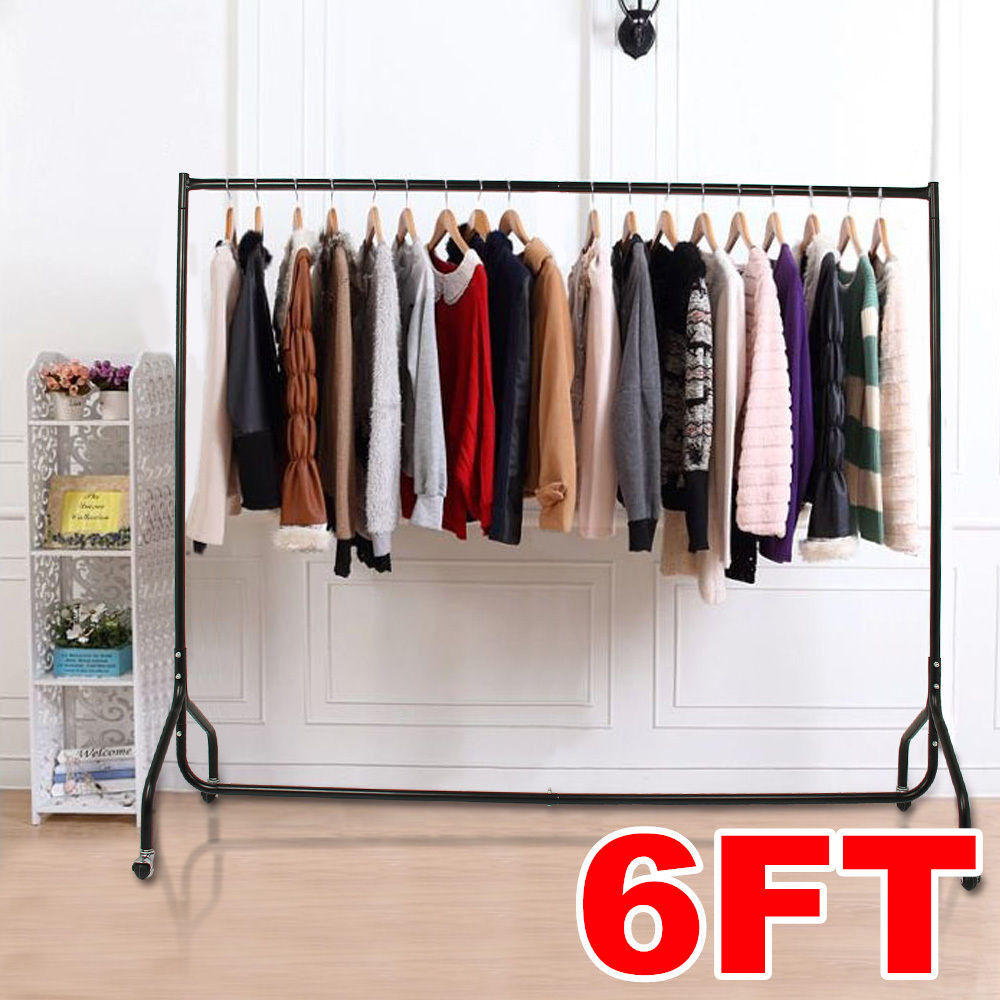 6ft heavy duty garment clothes hanging rail rack display shop market wardrobe
