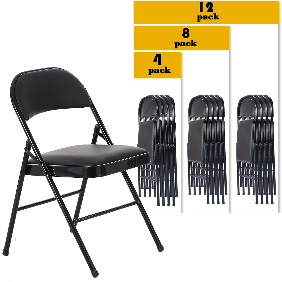 Astonishing Details About 4 8 12 Pack Folding Chair Fabric Upholstered Padded Seat Metal Frame Home Office Creativecarmelina Interior Chair Design Creativecarmelinacom