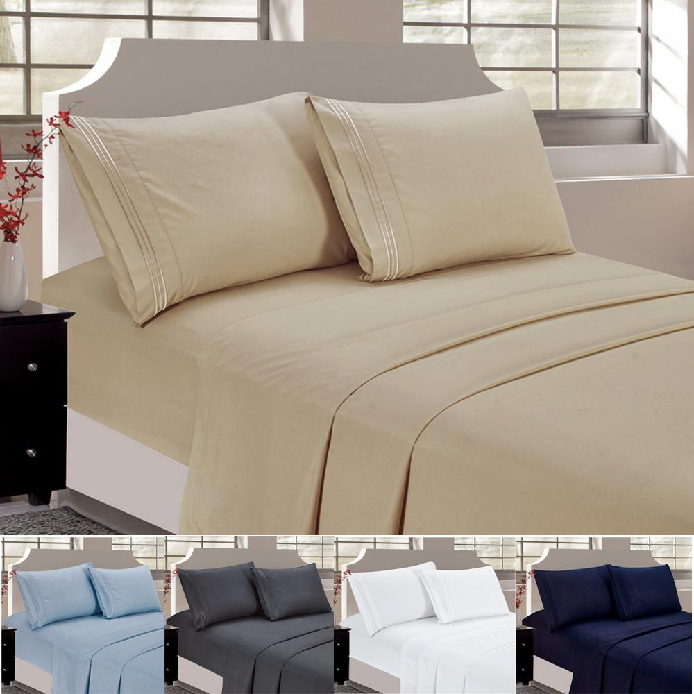 Bedding Bed Sheet Set 4 Pcs Deep Pocket Microfiber U0026 Wrinkle Free Soft  Sheets