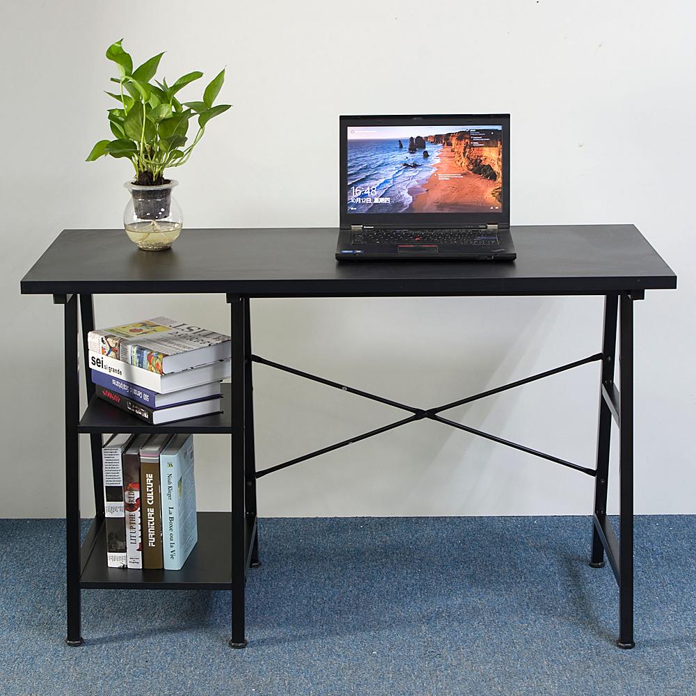Wooden computer pc desk black home office workstation study laptop table shelf