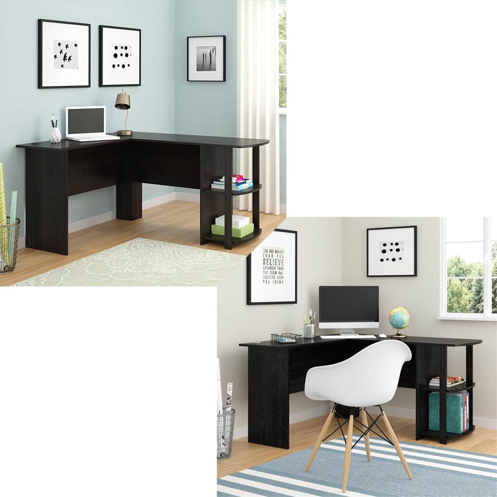 new l shaped corner computer office desk furniture black brown ebay rh ebay com office furniture corner computer desk staples office furniture computer desk
