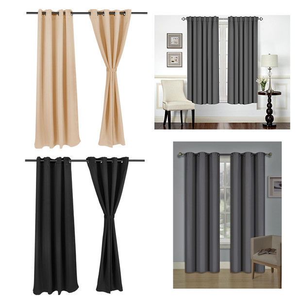 Details about Fashion Blackout Curtains Window Blinds Finished Drapes  Living Room The Bedroom