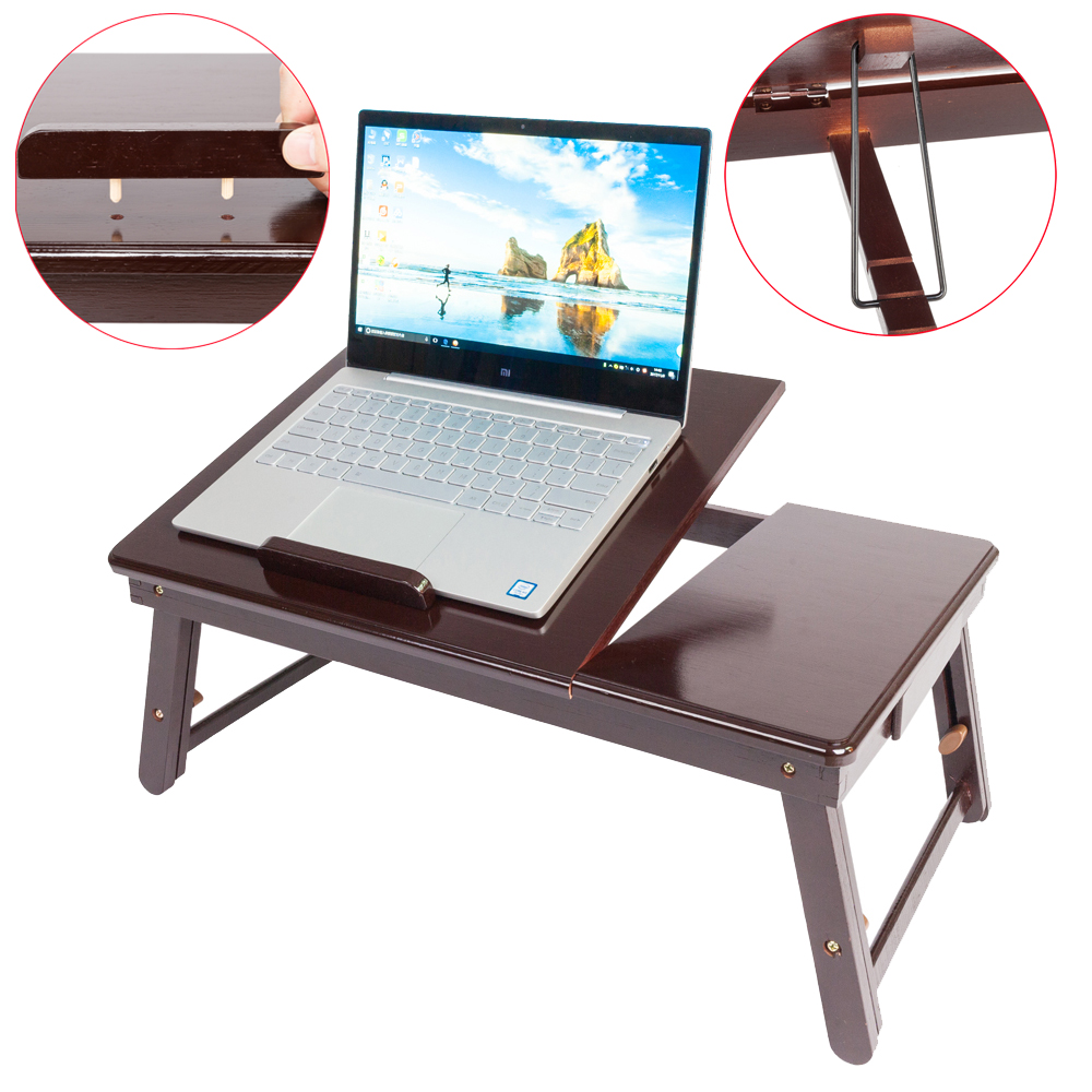Details About Wood Folding Lap Desk Tray Table Drawer Bed Food Laptop Tv Notebook Brown Color