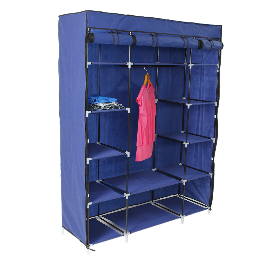53 portable closet wardrobe clothes rack storage organizer w shelf shelves. Black Bedroom Furniture Sets. Home Design Ideas