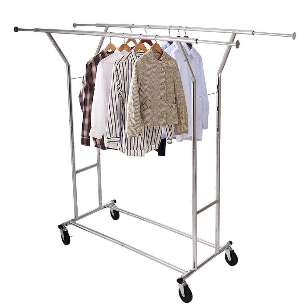single double 250lb rail portable clothes hanger rolling garment rack heavy duty ebay. Black Bedroom Furniture Sets. Home Design Ideas
