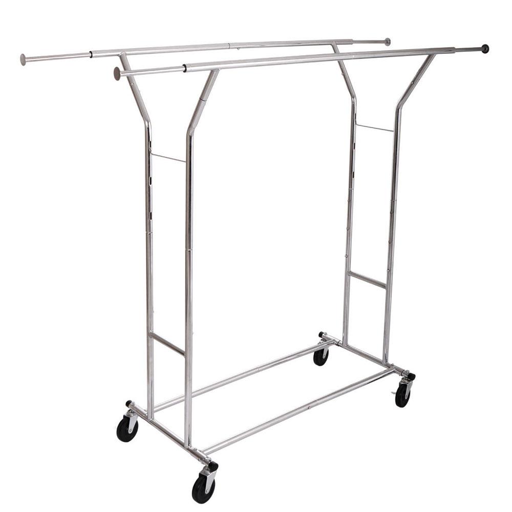 single double 250lb rail portable clothes hanger rolling garment rack heavy duty ebay. Black Bedroom Furniture Sets. Home Design Ideas
