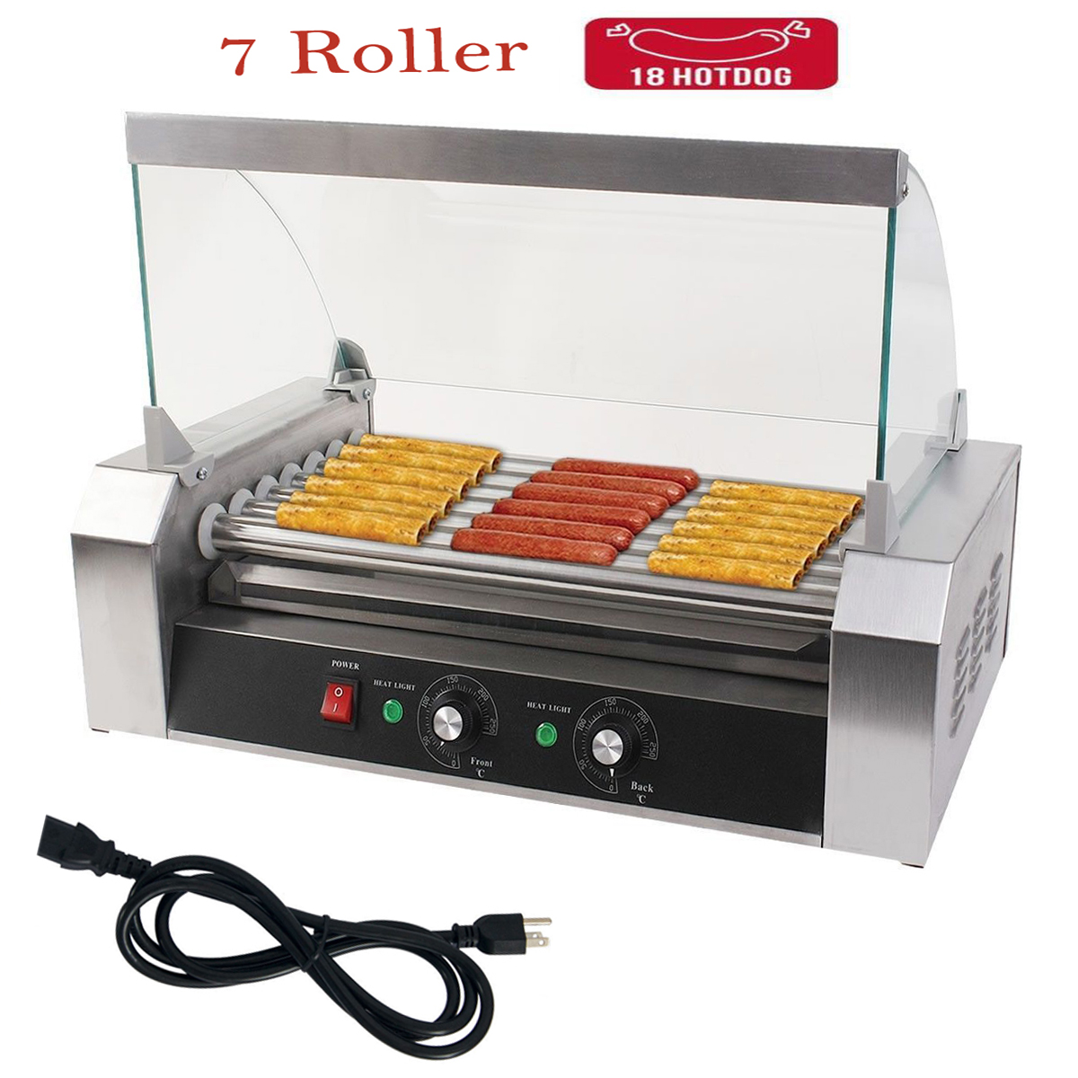 new quality commercial 18 hot dog 7 roller hotdog grill cooker machine w cover ebay. Black Bedroom Furniture Sets. Home Design Ideas