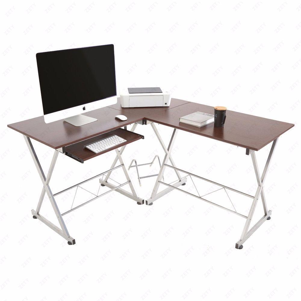 L Shaped Corner Computer Pc Desk Laptop Table Wood