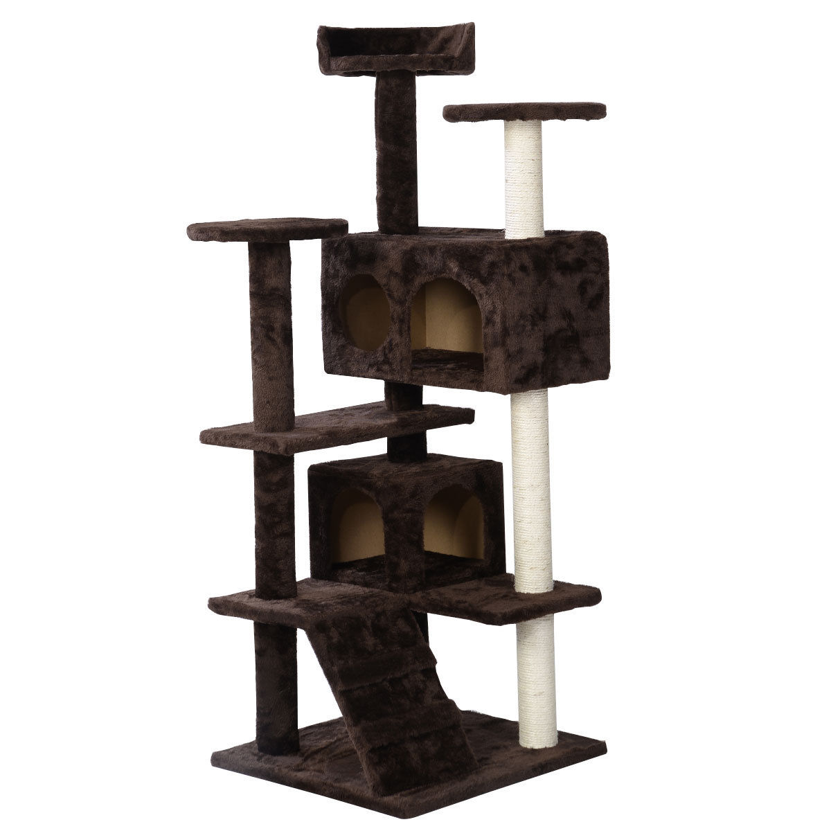 52 cat tree tower beige condo home scratch post kitty pet for Pictures of cat trees
