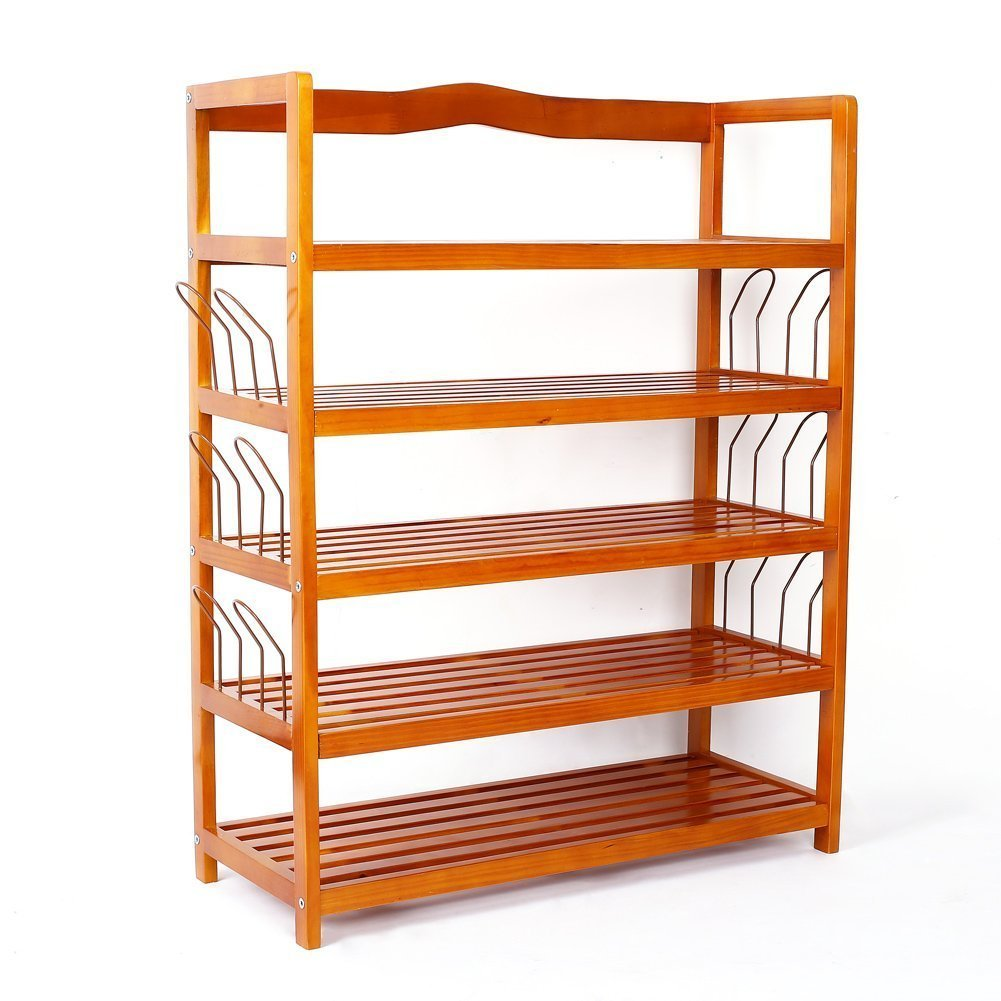 5-Tier Wooden Shoe Rack Shelf Storage Organizer Entryway
