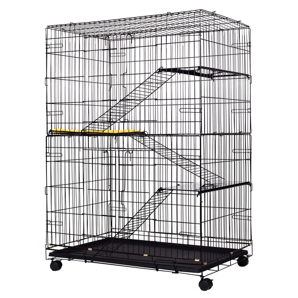 Folding Collapsible Pet Cat Wire Cage Indoor Outdoor