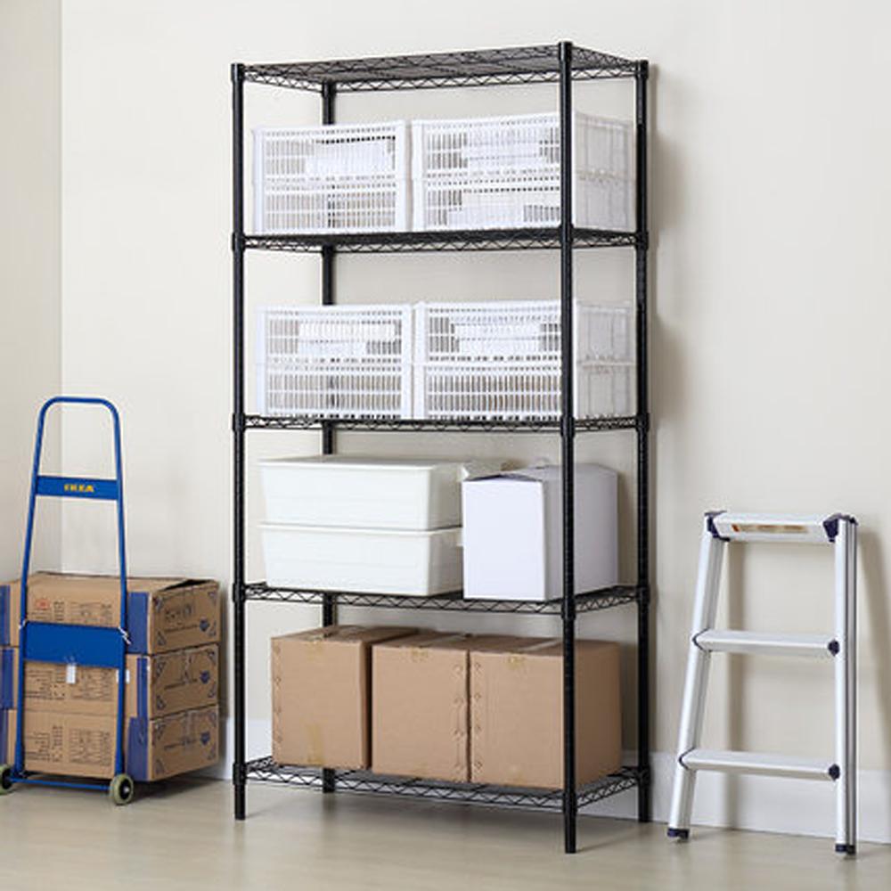 5 Layer Wire Rack Shelf Adjustable Unit Garage Kitchen Storage ...