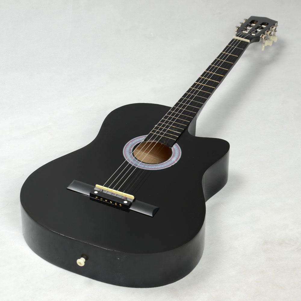 New 38 Black Cutaway Plywood 19 Frets 6 Strings Practice Acoustic