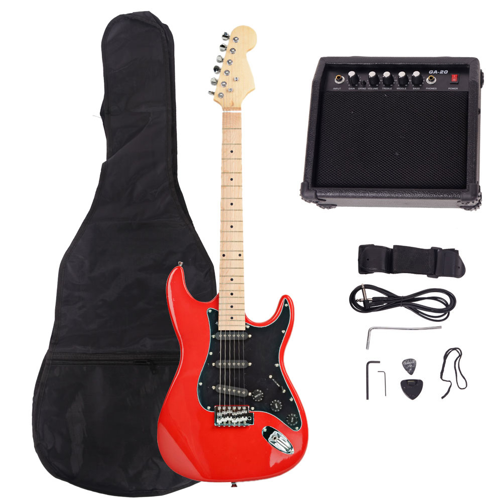 full size electric guitar 15 watt amp gig bag case guitar strap beginners ebay. Black Bedroom Furniture Sets. Home Design Ideas