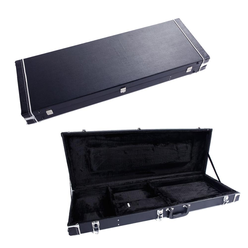 universal square electric guitar hard case wooden shell lockable carrying case 632806101171 ebay. Black Bedroom Furniture Sets. Home Design Ideas