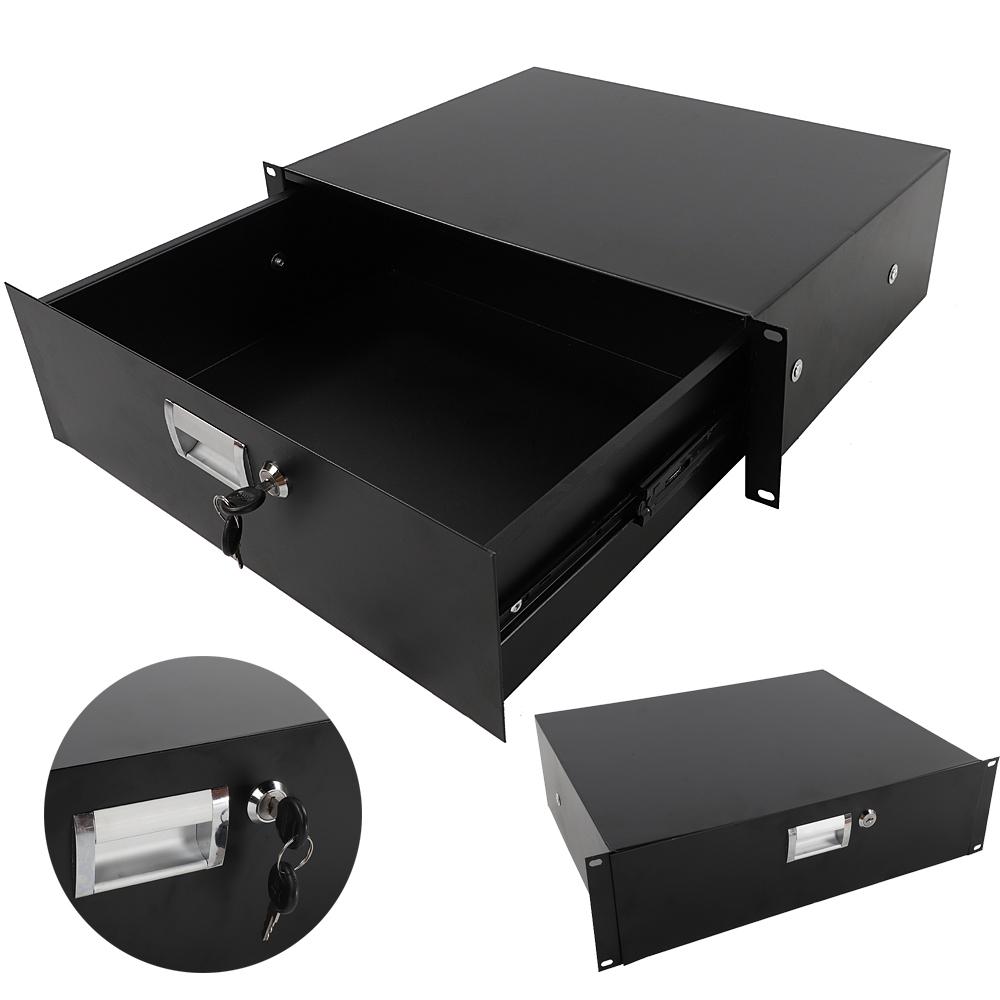 19 inch rack mount 3u locking drawer audio dj server rack storage cabinet ebay. Black Bedroom Furniture Sets. Home Design Ideas