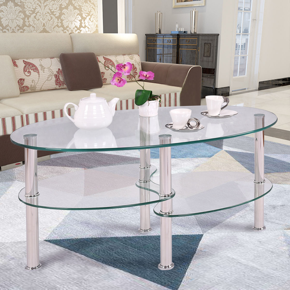 Tempered Clear/Black Glass Oval Side Coffee Table Shelf