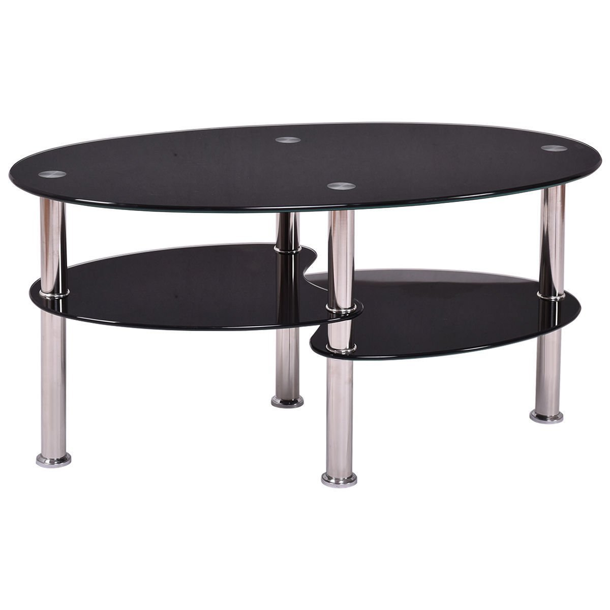 Tempered Clear Black Glass Oval Side Coffee Table Shelf