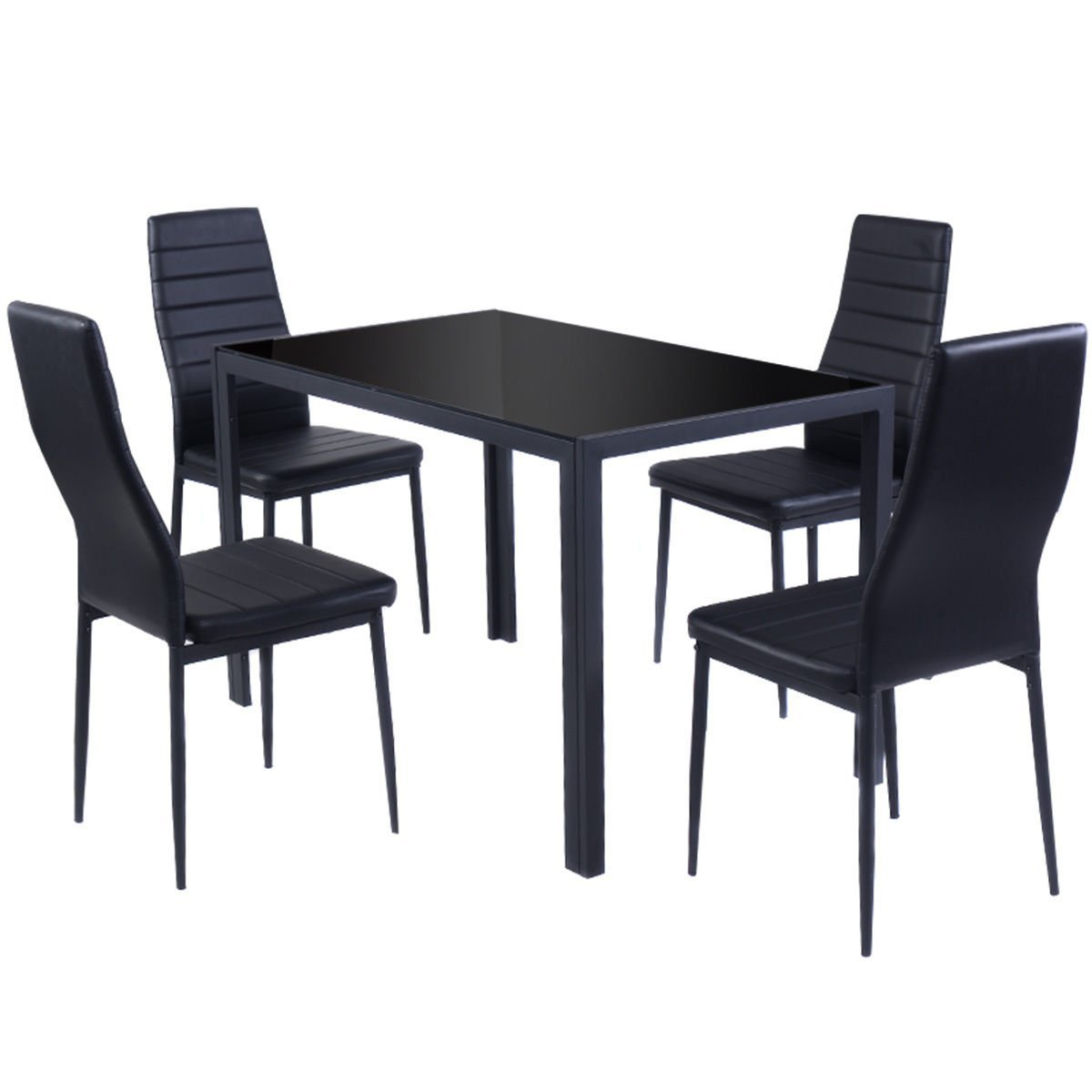 Details about 5 Piece Kitchen Dining Set Glass Metal Tabl & 4 Chairs  Breakfast Furniture