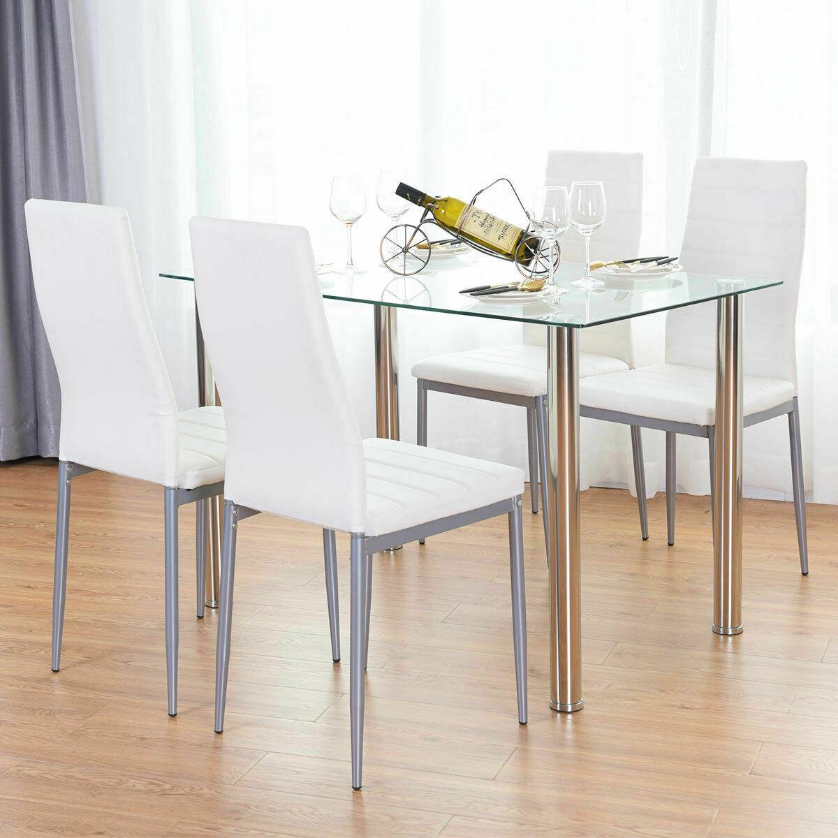 Incredible Details About 5 Piece Dining Table Set White 4 Chair Glass Metal Kitchen Dining Room Breakfast Inzonedesignstudio Interior Chair Design Inzonedesignstudiocom