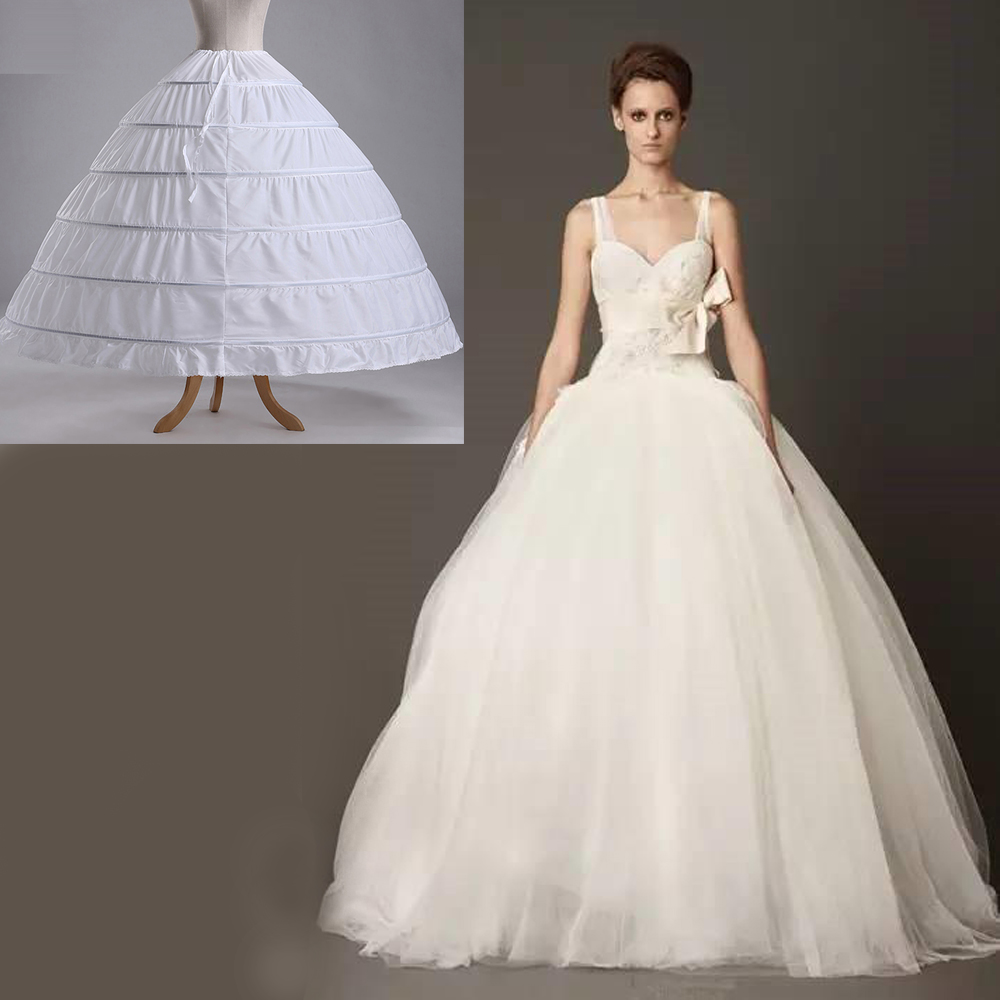 6-Hoop Wedding Party Ball Gown Crinoline Bridal Dress Skirt ...