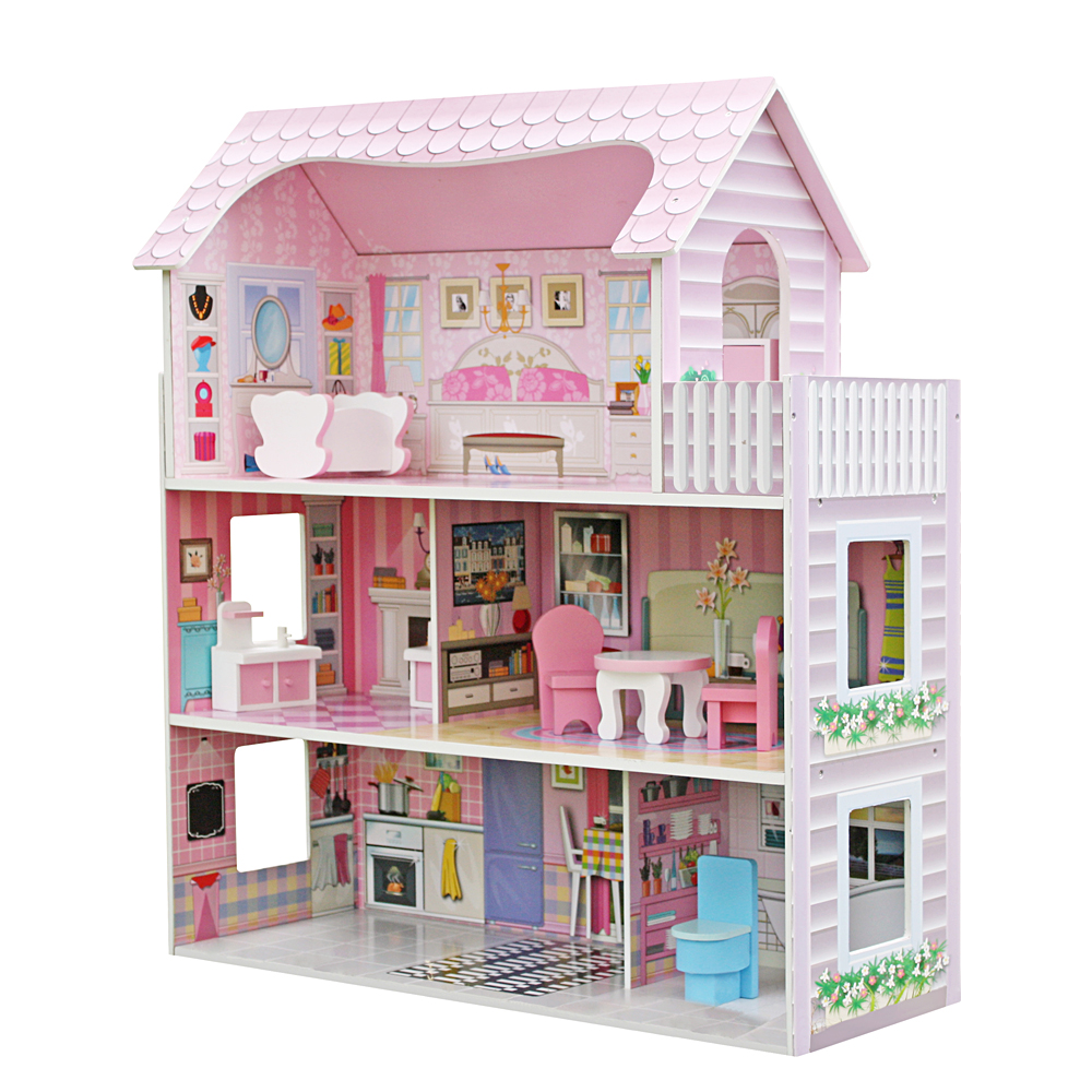 Childrens Wooden Dollhouse Fits Barbie Doll House W 8 Piece