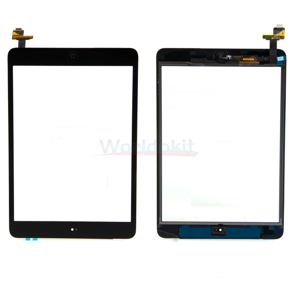Touch Screen Digitizer Black IC Connector Flex + Home ...
