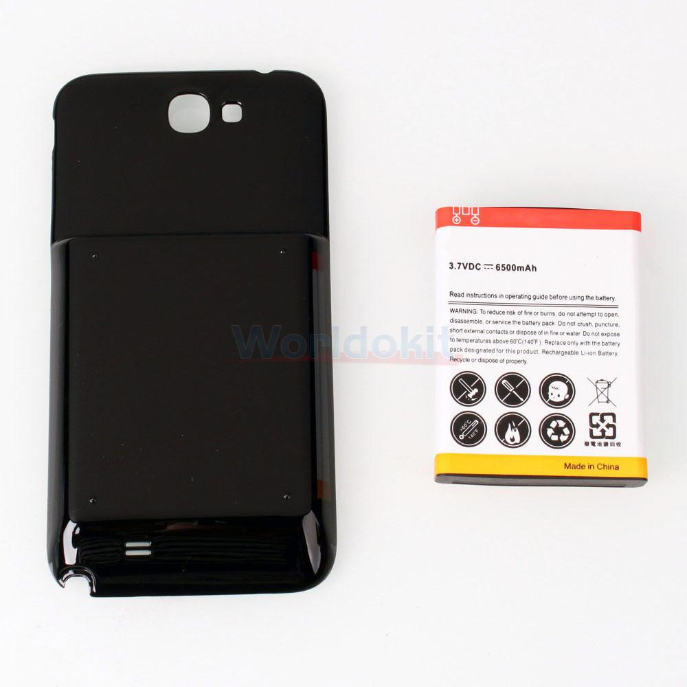 extended 6500mah battery black cover case for samsung galaxy note 2 n7100 ebay. Black Bedroom Furniture Sets. Home Design Ideas